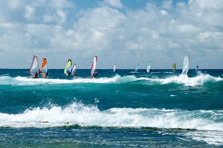 windsurf: Windsurfistas en tiempo ventoso en la isla de Maui