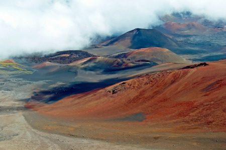 Haleakala crater with trails in Haleakala National Park on Maui Island Hawaii photo