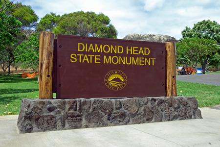 the ocean state: Diamond Head State Monument Park Sign close Honolulu on Oahu Hawaii Stock Photo