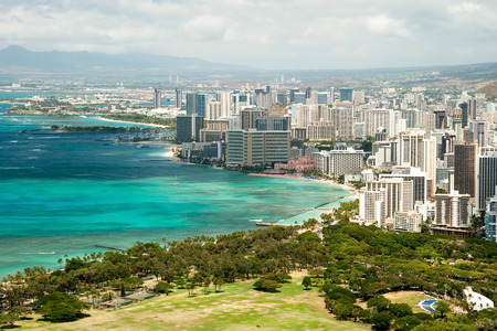 honolulu: Aerial view of Honolulu and Waikiki beach from Diamond Head Stock Photo