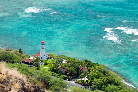 diamond head: Aerial view of Diamond head lighthouse with azure ocean in background