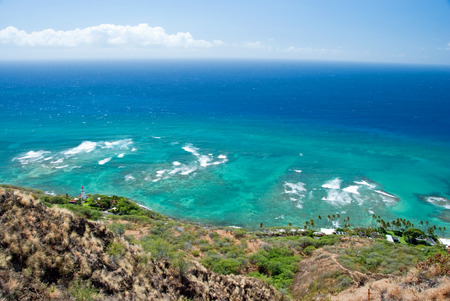 Aerial view of Diamond head lighthouse with azure ocean in background photo