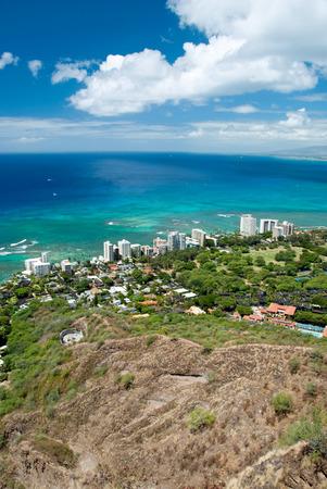 Aerial view of Honolulu and Waikiki beach from Diamond Head photo