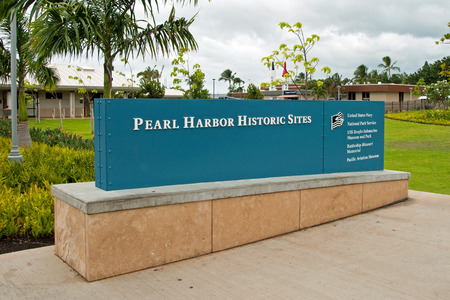 historic sites: OAHU, HI - SEPTEMBER 20, 2011 - Pearl Harbor Historic Sites sign on September 20, 2011 in Oahu. Attack on Pearl Harbor by Empire of Japan on December 7, 1941 brought United States into World War II.