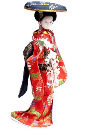 Asian geisha doll isolated on white Stock Photo - 4690946