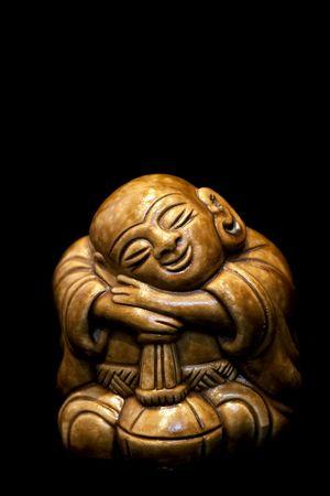 Chinese wooden buddha statue photo