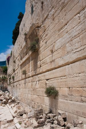 Walls of The Second Jewish Temple expanded by Herod currently used for islamic mosque photo