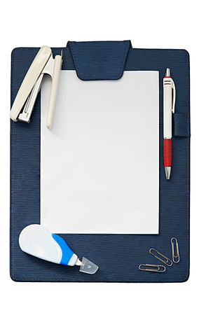 clip board with paper frame for coy space surround by ball pen,scraper and clip ,top view,office concept