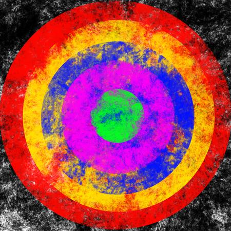 colourful texture brush target on black smoke like background,illustration