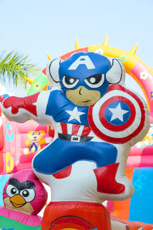 Bangkok,Thailand,Feb 10,2018,Cartoon balloon decoration for slider pool ,in the frame are captain america and angry bird. Editorial