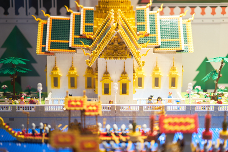 Bangkok ,Thailand ,Dec 24,2018,Thai Royal ceremony temple in lego style Editorial