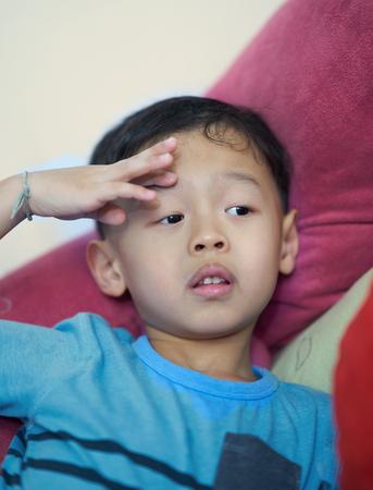 Boy portrait in salute posture so cute Archivio Fotografico