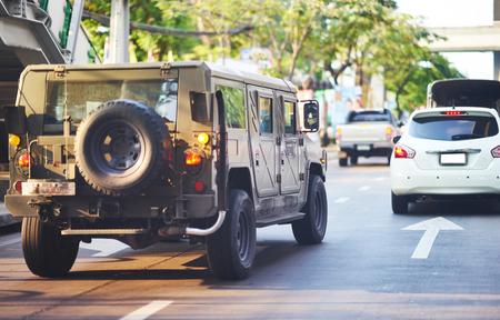 Hummer car on street Banco de Imagens