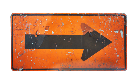 Old ,rip off and rusty arrow sign on isolated white background Banco de Imagens