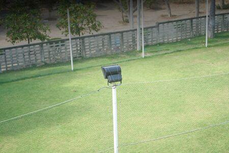 Spot light of small grass football field