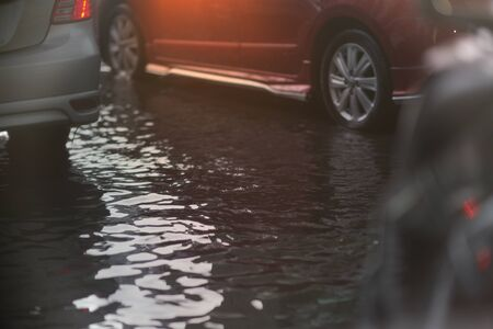 Flood on public road in traffic view