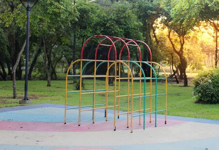 old Climber toy in park playground for kid relax concept