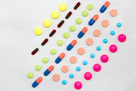 variety of kinds of drug in lines in Medical healthcare manufacturing factory concept with copy space