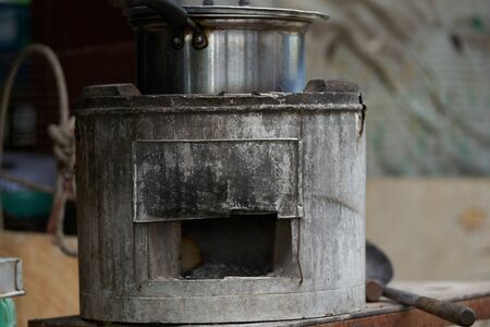 Old vintage firewood stove outside Stock fotó
