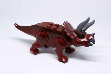 Triceratops or three horn dinosaur on white background,side view