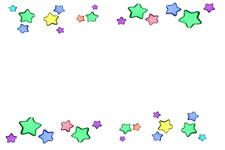 Colorful stars on white background with copy space Stock fotó