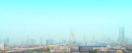 Blur photo of city scape include towers and toll way bridge Reklamní fotografie