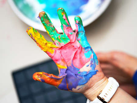 Colorful hand paint before print with fun art work Reklamní fotografie