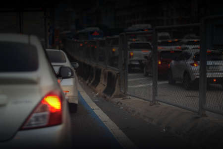 Early morning traffic cars jam in rush hour