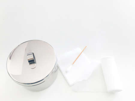 swab ,gauaze ,roll bandage and jar with copy space in medical concept