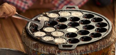 Thai sweetmeat in mini pan stove in cooking