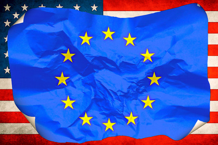 dependent: flag of the European Union against the background of the flag of the United States