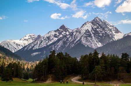 山の中の乗馬ツアー 写真素材