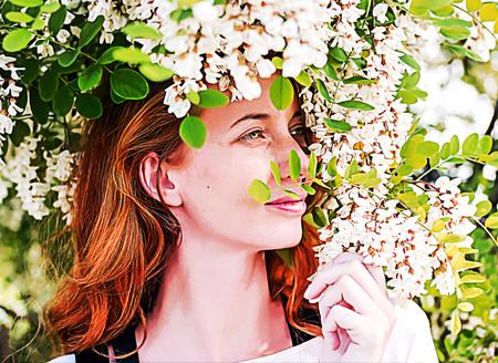 Redhead model among Flowers acacia Фото со стока