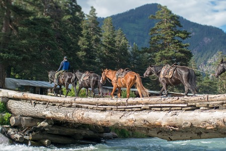 the crossing of the horses over a raging torrent