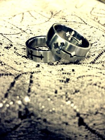 silver: A set of ring Stock Photo