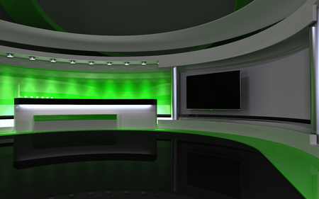 green screen: Studio The perfect backdrop for any green screen or chroma key video production. Stock Photo