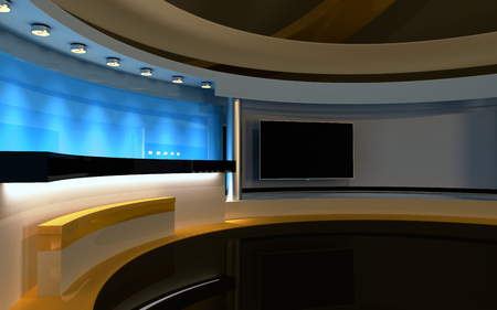 television show: Studio The perfect backdrop for any green screen or chroma key video production. Stock Photo