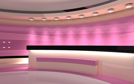 Tv Studio. News studio. The perfect backdrop for any green screen or chroma key video or photo production. 3d render. 3d visualisation Archivio Fotografico
