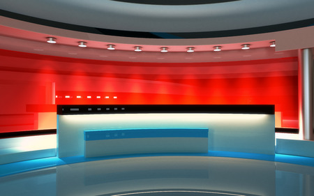 Tv Studio. News studio. The perfect backdrop for any green screen or chroma key video or photo production. 3d render. 3d visualisation Zdjęcie Seryjne