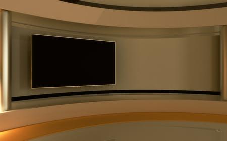 Studio de télévision. studio Nouvelles. La toile de fond parfaite pour un écran vert ou clé vidéo ou photo production chroma. 3d render. visualisation 3D Banque d'images