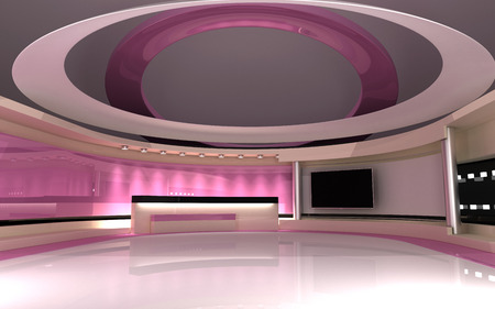 Tv Studio. News studio. The perfect backdrop for any green screen or chroma key video or photo production. 3d render. 3d visualisation Stock Photo