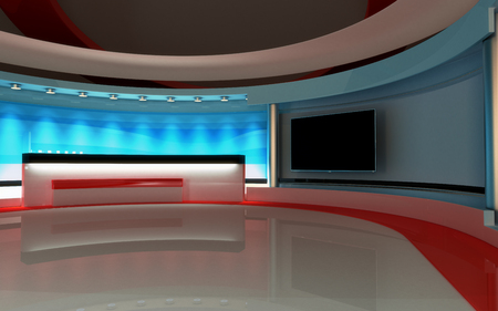 visualisation: Tv Studio. News studio. The perfect backdrop for any green screen or chroma key video or photo production. 3d render. 3d visualisation Stock Photo