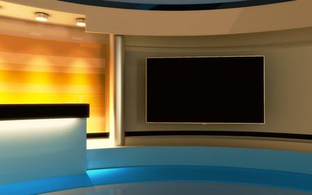 Tv-studio. Nieuws studio. De perfecte achtergrond voor elk groen scherm of chromasleutelvideo of fotoproductie. 3d render. 3d visualisatie