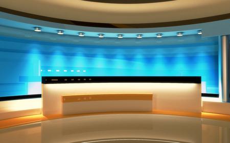 TV-Studio. Nachrichtenstudio. Die perfekte Kulisse für jeden grünen Bildschirm oder Chroma-Key-Video oder Fotoproduktion. 3D-Darstellung. 3D-Visualisierung