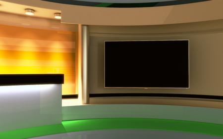 Studio de télévision. studio Nouvelles. La toile de fond parfaite pour un écran vert ou clé vidéo ou photo production chroma. 3d render. visualisation 3D