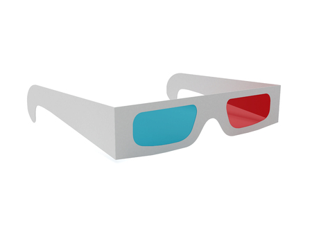anaglyph: anaglyph glasses.3D . 3d rendering Stock Photo