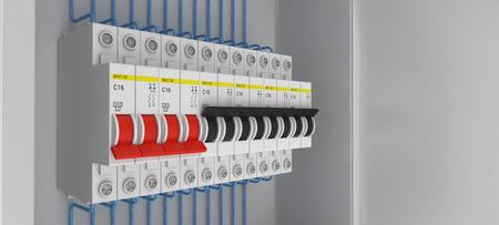 breakers: Electrical circuit breakers. 3D. 3D rendering