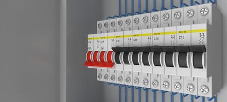 Electrical circuit breakers. 3D. 3D rendering