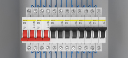 fusebox: Electrical circuit breakers. 3D. 3D rendering
