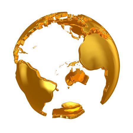 golden globe: Golden Globe. Golden continents. Golden planet. 3d. 3d render